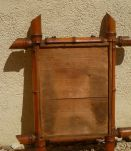 Miroir ancien en bois, sculpté façon bambou , vintage