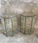 Petite vitrine hexagonale verre et laiton