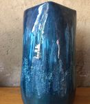 Grand vase en céramique Vallauris bleu vintage