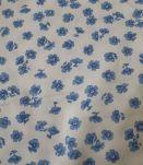 coupon de tissu jersey coton blanc imprimé bleu 4 mètres
