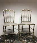 Set de 2 chaises Chiavari en laiton doré