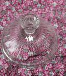 Joli sucrier  en verre moulé transparent, bonbonnière