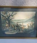 dessins anciens à l'aquarelle avec cadre bois