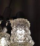lustre vintage années 70 3 feux en verre taillé