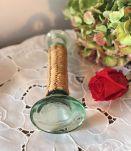 Joli bougeoir en verre et osier paille - Vintage
