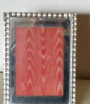 Cadre miroir, interieur en satin rayonne rouge vintage 1950