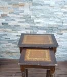petite sellette gigognes  ancienne  bois & cuir