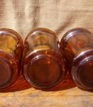 Lots de 3 bocaux en verre ambré - Années 70