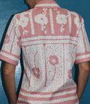 Chemise manche court motif fleur année 60-70
