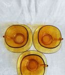Set 3 tasses et sous tasses jaune vintage