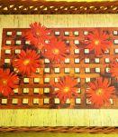 Plateau Vintage Rotin et Formica Fleurs