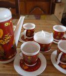 Dinette Service à café 4 tasses Cafetière Sucrier, pot à