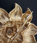 Broche tournesol vintage en métal doré