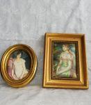 Miniatures sur soie cadres bois doré