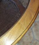 table basse vitrée et cannage