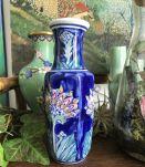 Petit vase Porcelaine Fleuri Bleu Ht 17.5cm