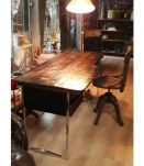 Bureau minimaliste amature chrome 1975; bois brut traite faç