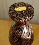 Verre de Murano, estampillé, magnifique vase elegant, noir e
