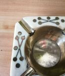 Cendrier en laiton et os