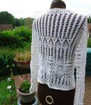 Gilet blanc coton fait main col V  manches longues