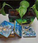 Dessous de verre déco mariage bleu marbré