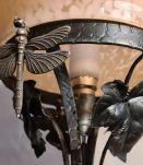 lampe art deco fer forgé  abat jour clichy rose 1920 a 40 el