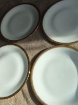 2 Assiettes Porcelaine De Limoges Incrustation Or