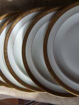 Assiettes X6 Porcelaine Limoges Incrustation Or