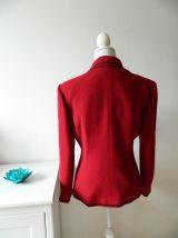 Veste brodée vintage en laine vierge rouge 80's