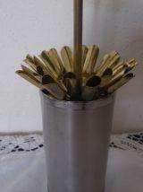 Porte cigarettes vintage 70's , metal argenté deco fleur de Lys