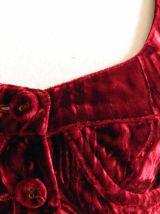 Bustier crop top en velours rouge bordeaux vintage 90's