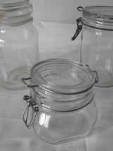 Lot 3 bocaux  en verre blanc Vintage