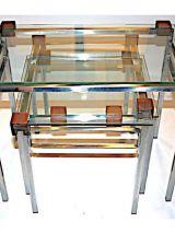 Lot de 3 tables gigogne design 1960-1970 Métal, Verre & Bois