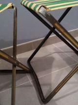 Lot Tabourets pliable métal vintage indu