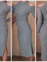 Robe Midi Rayée Épaules Découvertes
