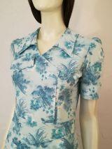 Robe vintage 70ies taille 36 38 bleu ciel motifs floraux
