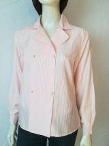 Chemisier vintage taille 40 42 blanc nacré rayures rose bonbon double boutonnage