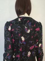 Veste vintage 70ies façon chemisier fin imprimé choc pour fille chic taille 36-38-40