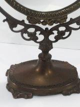 Ancien Miroir de table psyché en laiton massif