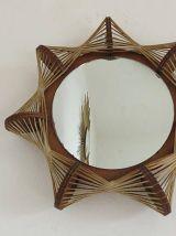 Miroir soleil scandinave fil et bois années 60 70