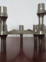 Série de 6 bougeoirs scandinaves tripodes modulables et empilables années 70