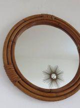 Miroir en rotin bambou rond années 60 70