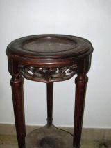 sellette gueridon tripode hetre 1900 marbre rouge restauré gris bleuté satiné