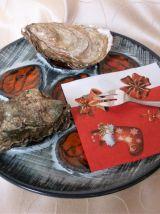 Assiette à huîtres de Pornic - décorée mains.
