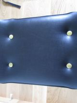Tabouret ou repose pied en skaï à pied compas