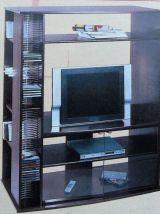 Meuble Haut Tv Hifi Video Imitation Hetre  2 Portes Verres