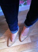 Rita - Chaussures à petits talons en cuir tressé doré