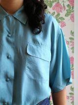 Huguette - chemisier manches courtes en soie bleu