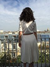 Sam - Robe années 50 couleur crème - Col chemisier et jupe