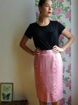 Eugénie - Jupe vieux rose taille haute avec détails